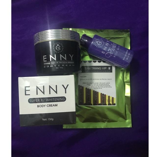 Kem body x2 Enny + tắm trắng cafe + sữa tắm violet