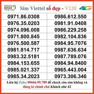 Sim Viettel V120 đầu 09 số đẹp giá rẻ 42 [HOT]