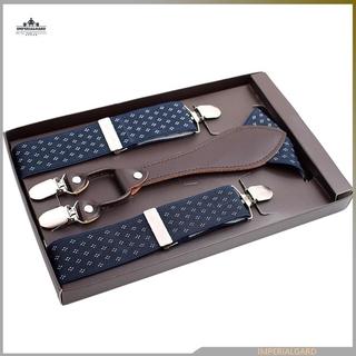Men 4 Clips Suspenders Belt Adjustable Jacquard Y-back Suspenders For Pants