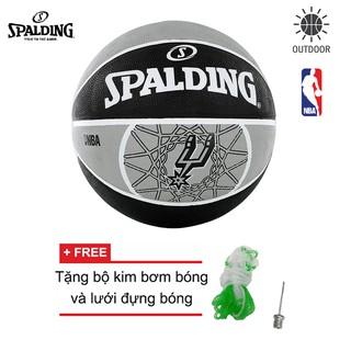 Bóng rổ Spalding NBA TEAM SPURS OUTDOOR SIZE 7 Tặng bộ kim bơm bóng và lưới đựng bóng