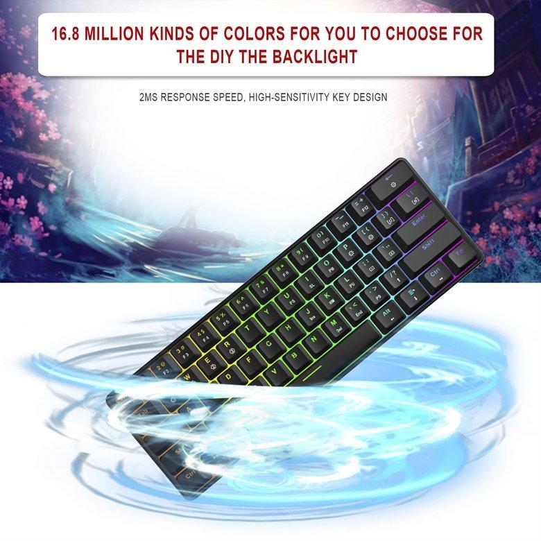 PK GK61 Gaming Mechanical Keyboard with Kailh BOX Switch RGB Function