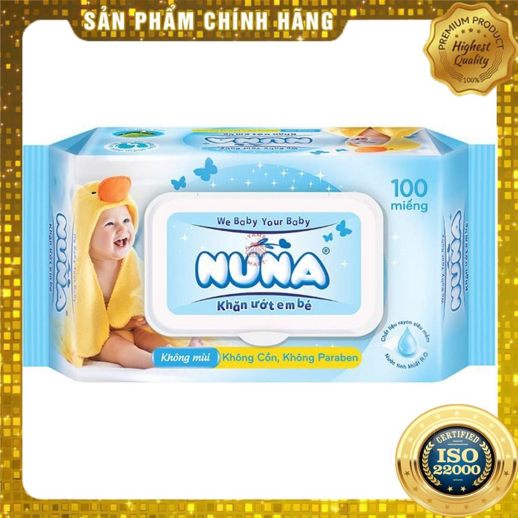 [ Yams Mart ] Khăn Ướt Em Bé Nuna Không Mùi Gói 100 Miếng-900