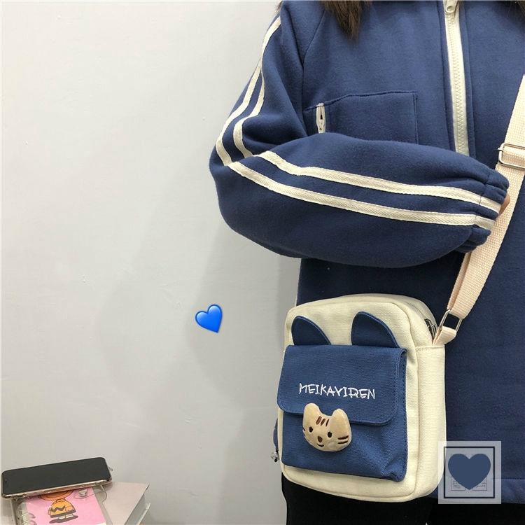 Túi Vải Canvas Đeo Chéo Phong Cách Nhật Bản Xinh Xắn Dành Cho Nữ