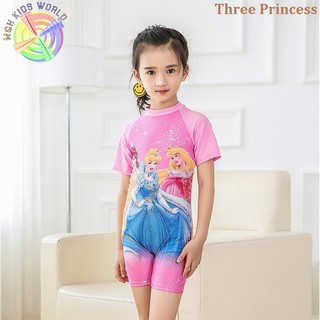 Áo bơi liền quần cho bé gái từ 3-9 tuổi, đồ bơi trẻ em ngắn tay Hello Kitty, Tiên Cá, Công Chúa, Elsa
