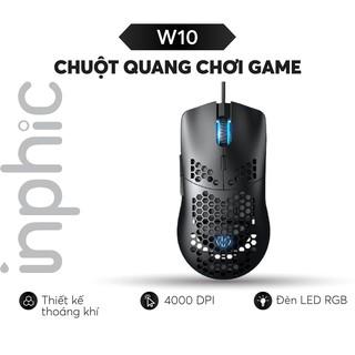Chuột Chơi Game INPHIC W10 Với Vỏ Tổ Ong Trọng Lượng Nhẹ Cảm Biến Quang Học Pixart 3325 Đèn Nền RGB 7 Nút - Chính Hãng thumbnail