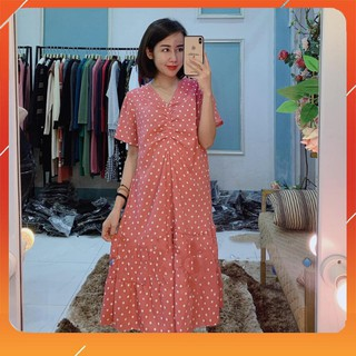 Váy Bầu 💗 FREESHIP 💗 Váy Bầu Chấm Bi Cổ Tim Rúm Ngực Quyến Rũ, Vải Chéo Thái Co Giãn Nhẹ, Freesize từ 45-70kg