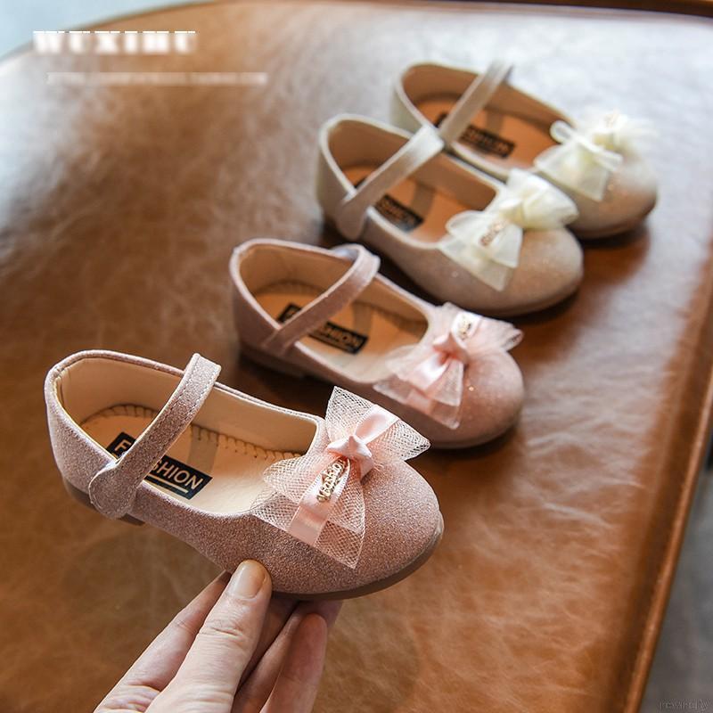 Giày búp bê phối nơ lưới đế mềm phong cách Hàn Quốc cho bé gái