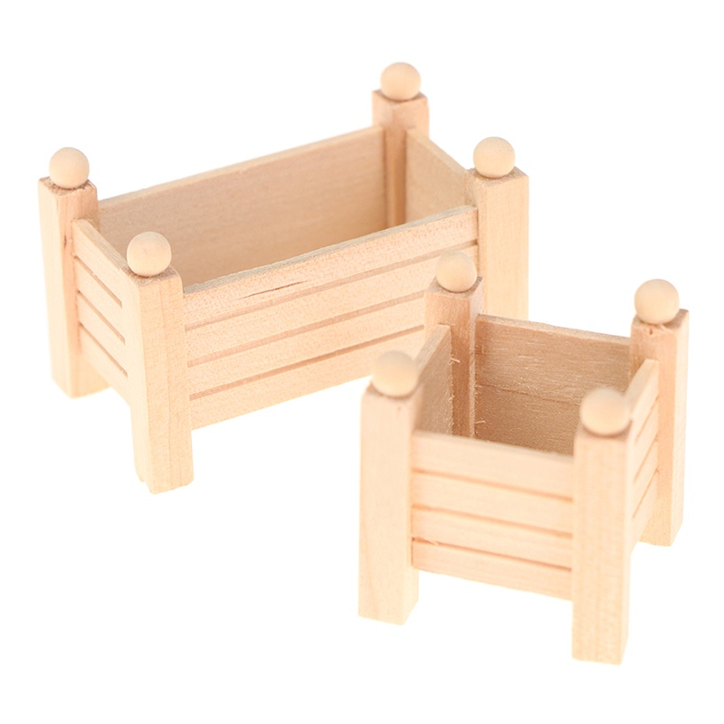 (new)1:12 Dollhouse Wood Flower Stand Flowerpot Potted Ornaments Model Accessories