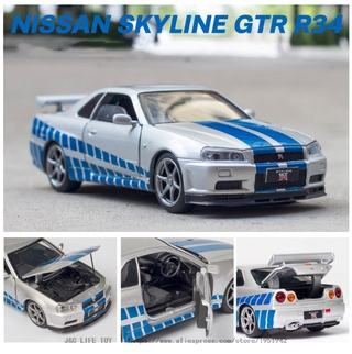 Alloy Toy Car Vehicle Nissan GTR R34 Sports Car Metal Production Model Collection Display Model Boys Gift Toys thumbnail