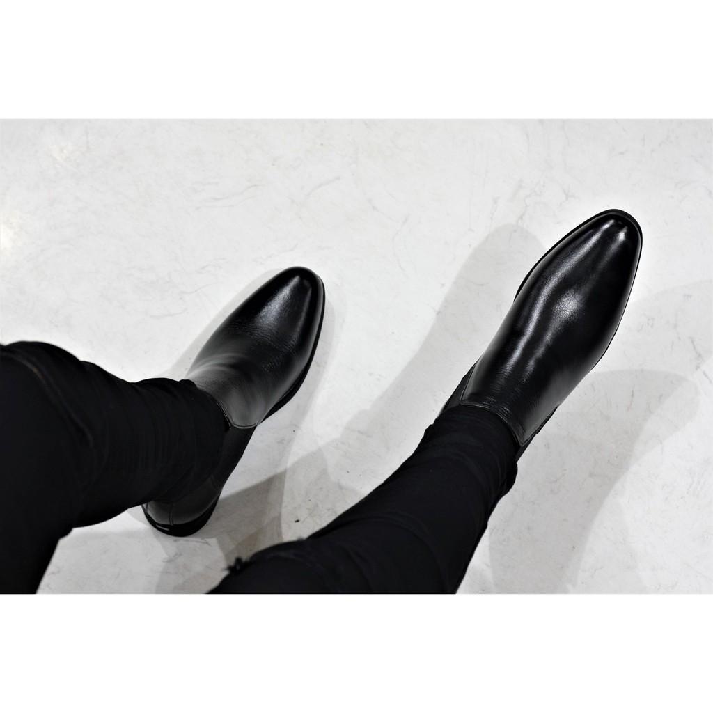[Giày da chống nhăn][Tặng tất khử mùi] Giày Chelsea Boot tăng chiều cao gần 5cm