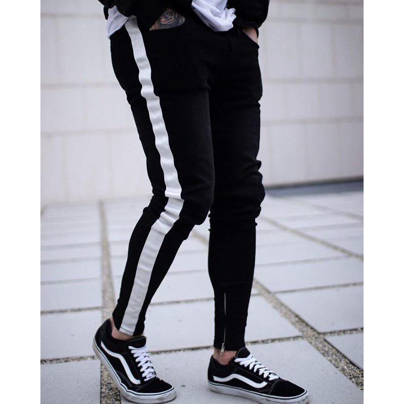 [VIDEO+ẢNH THẬT] Quần jean track pants ( đen sọc trắng ) | LILONECLOTHINGCS3