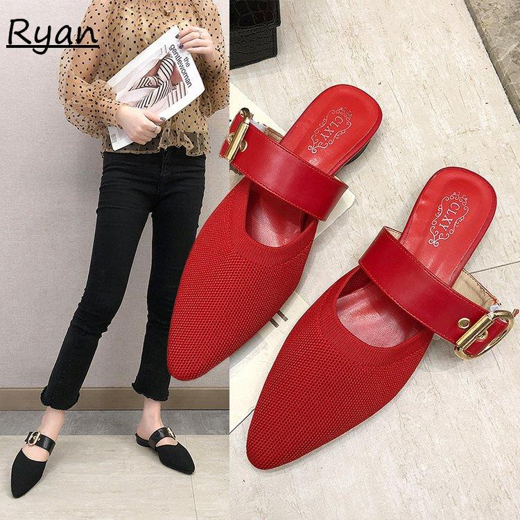 Social semi-slipper female pointed thick with wild wear baotou lazy slippers