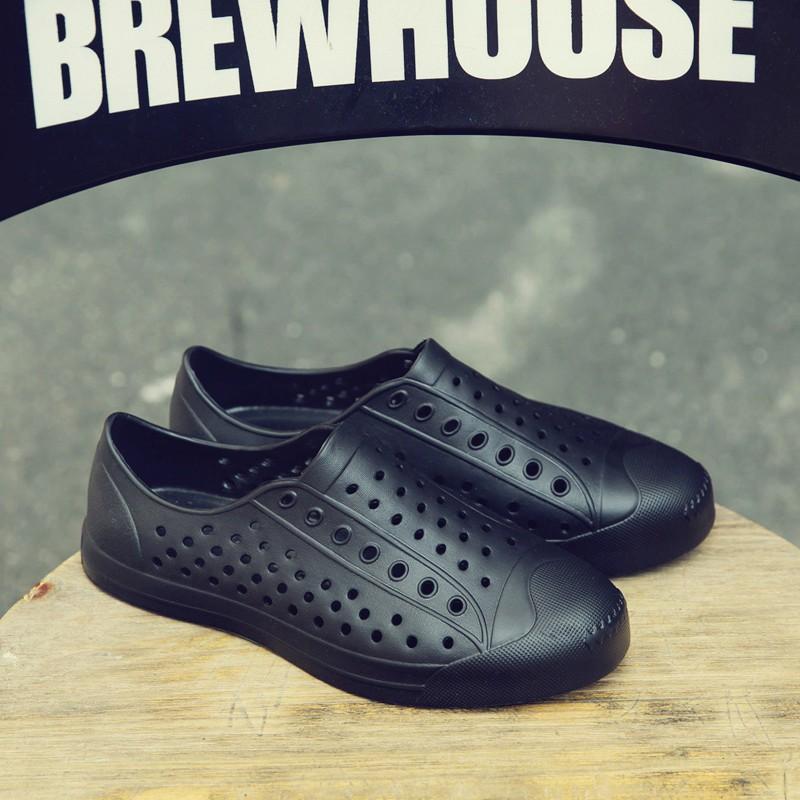 Giày nhựa đi mưa nam nữ - Chất liệu nhựa xốp siêu nhẹ - Màu cam đế trắng