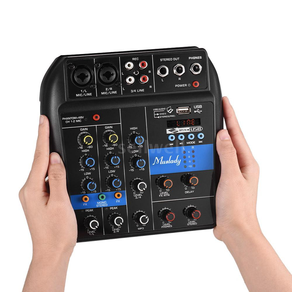 Muslady S-1 Portable 4-Channel BT Mixing Console Digital Audio Mixer Built-in Reverb Effects +48V Phantom Power 2-band E