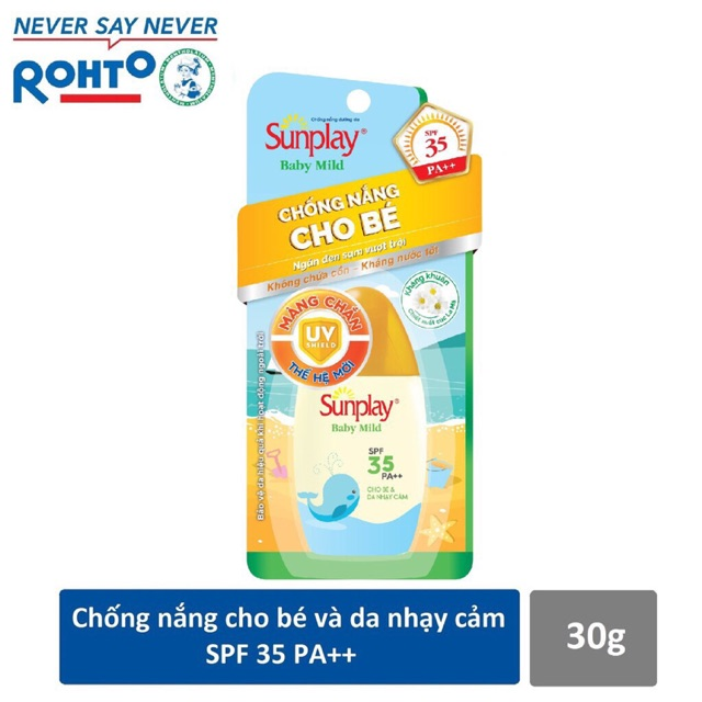 Kem chống nắng dành cho da nhạy cảm, da em bé - Sunplay Skin Aqua Baby Mild 30g