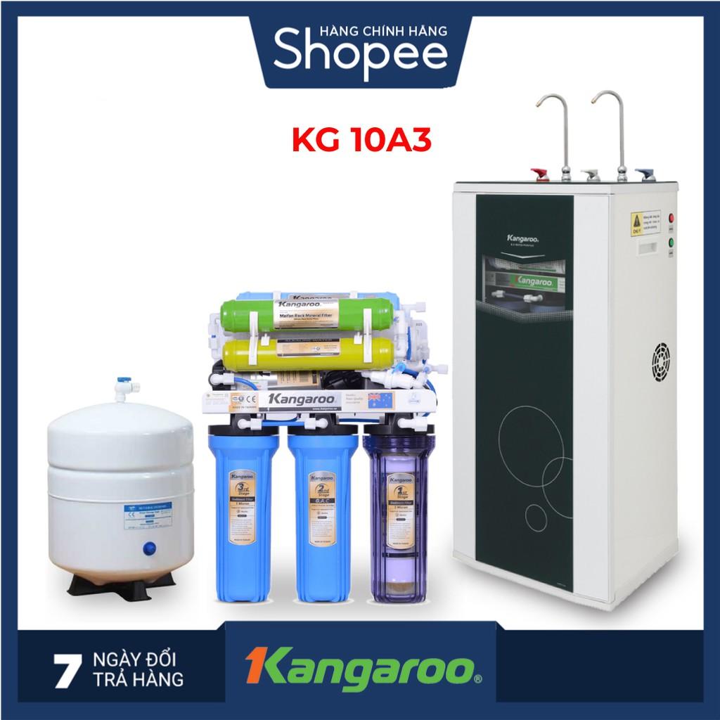 Máy lọc nước RO nóng lạnh 2 vòi Kangaroo KG10A3 - 10 cấp lọc - Bao gồm tủ cường lực