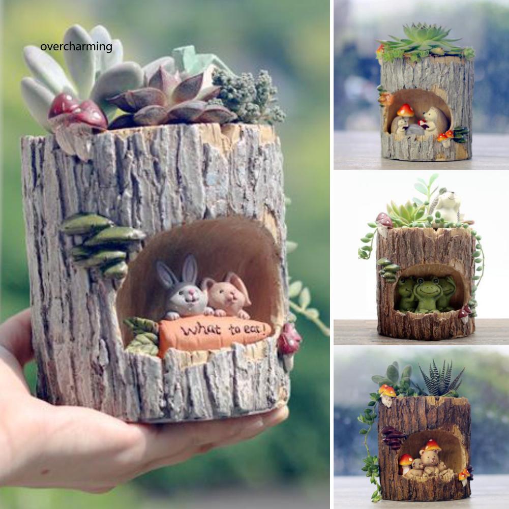J_Cute Hedgehog Bear Rabbit Frog Succulent Plant Resin Flower Pot Bonsai Orn