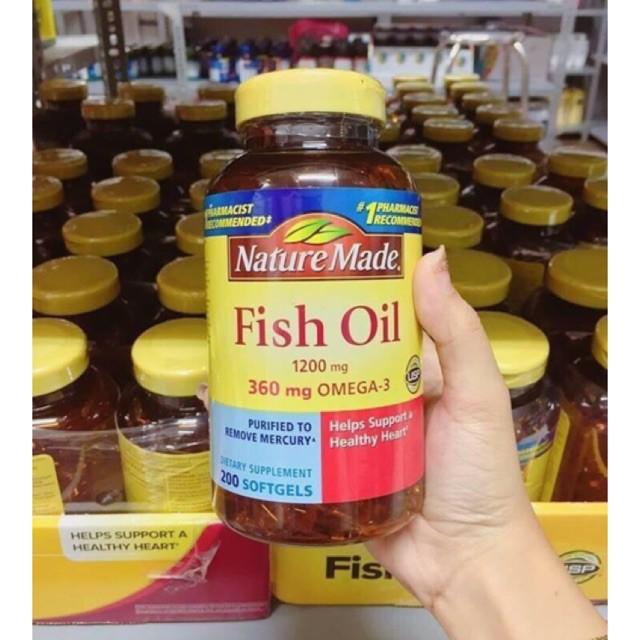 Dầu Cá Fish Oil 1200mg Omega3 Hộp 200 Viên Của Nature Made Mỹ (Hạn Sử Dụng