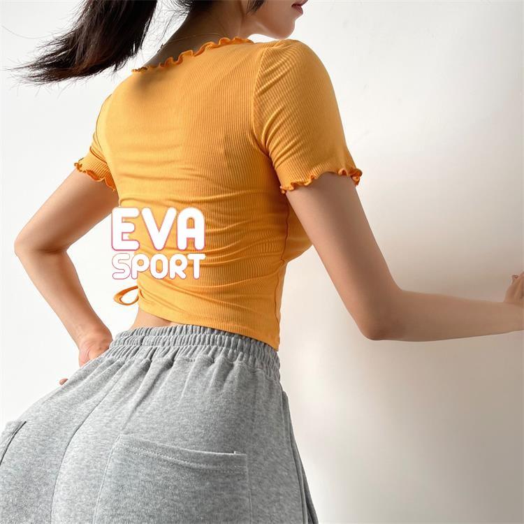 Mặc gì đẹp: Năng động với Áo tập gym yoga chạy bộ zumba nữ YIMRIZ dây rút vải len gân tăm bó sát cơ thể EvaSport