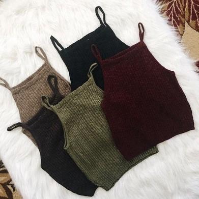 Women Sexy Sleeveless Knit Crop Tops