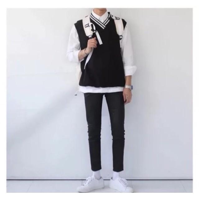 Áo gile ba lỗ len trắng đen unisex