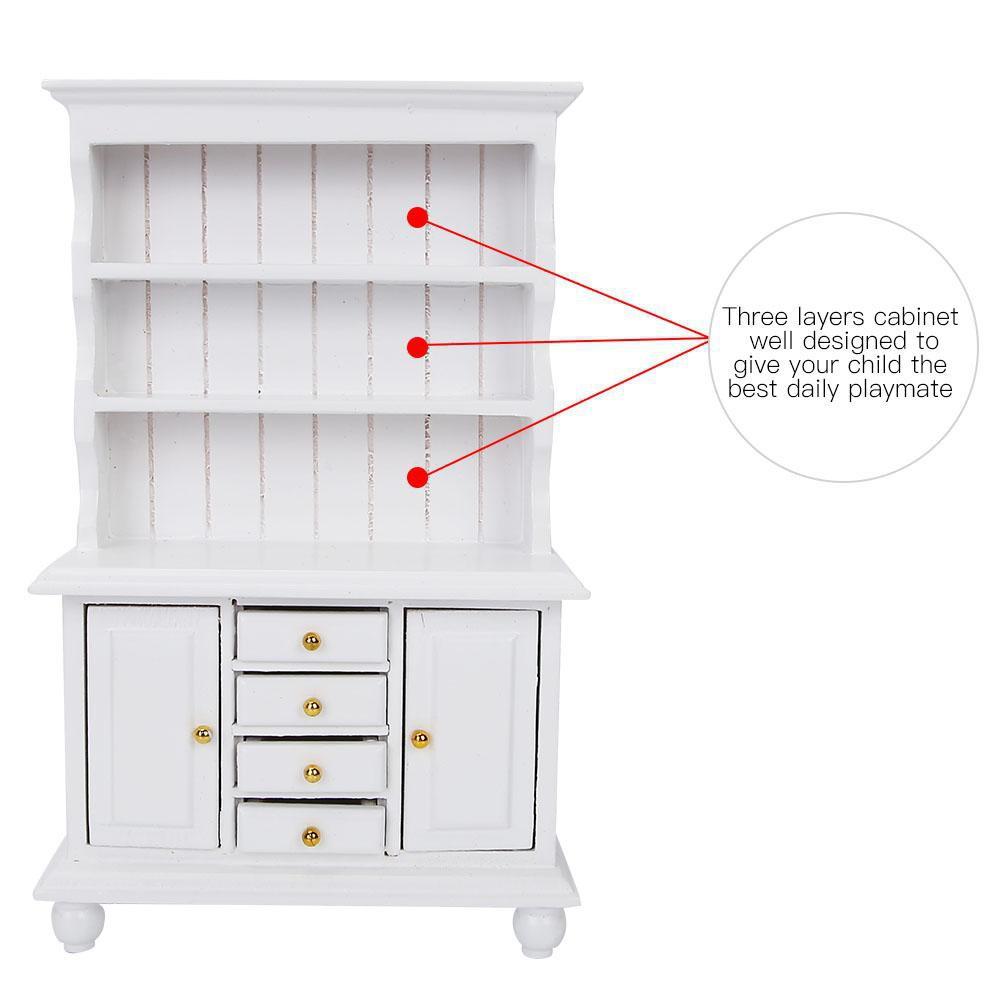 Sale 70% Tủ có ngăn kéo bằng gỗ trang trí nội thất cho nhà búp bê tỷ lệ 1/12, White...