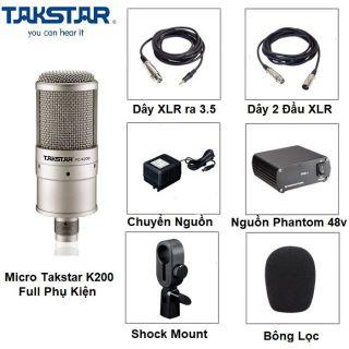 Combo mic thu âm Takstar PC K200 và nguồn phantom 48v