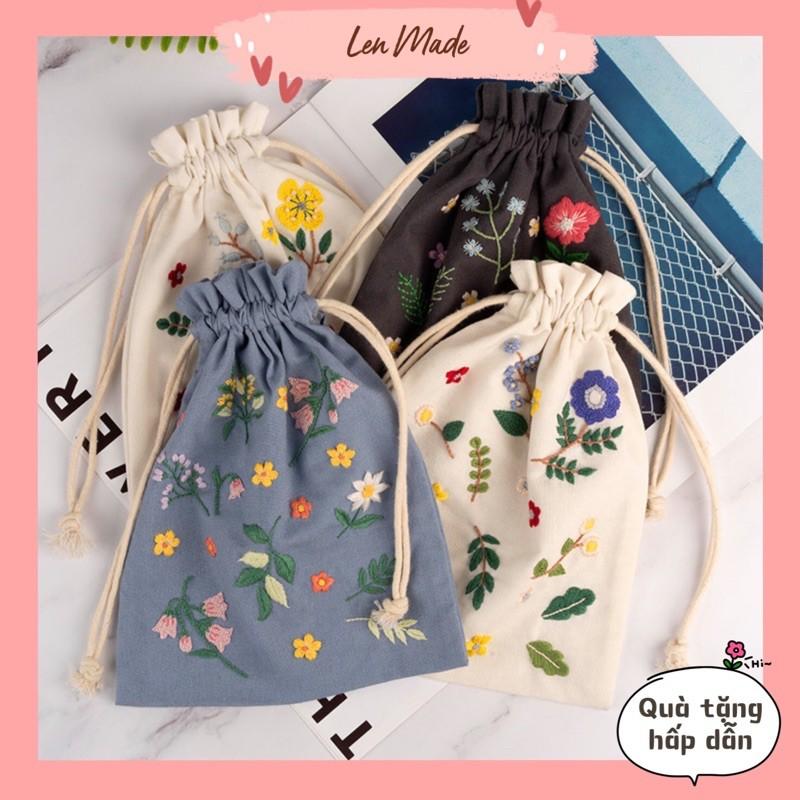 Bộ kit nguyên liệu túi thêu dây rút hoa lá vintage tự thêu đầy đủ handmade sinh viên decor nhà cửa Lenmade