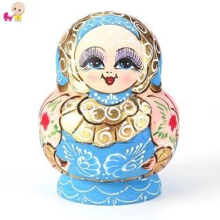 ❦Ready Stock❦☞ 10pcs Wood Russian Nesting Matryoshka Dolls Set Color Painted Toys Decor