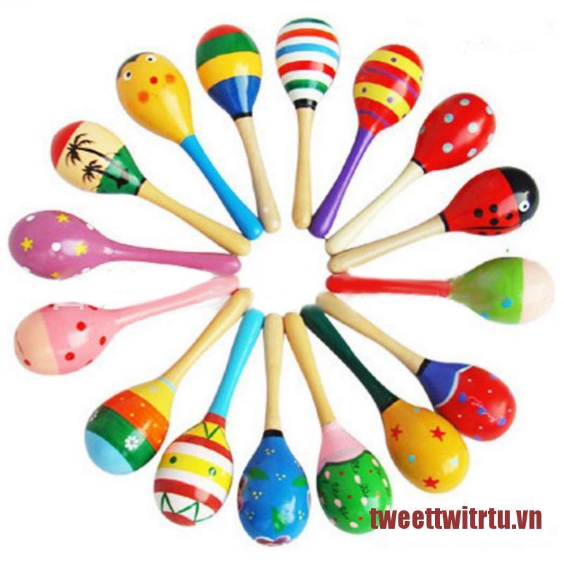 TRTU Infant Toddler Wood Sand Hammer Wooden Maraca Rattle Favor Child Baby Shaker Toy