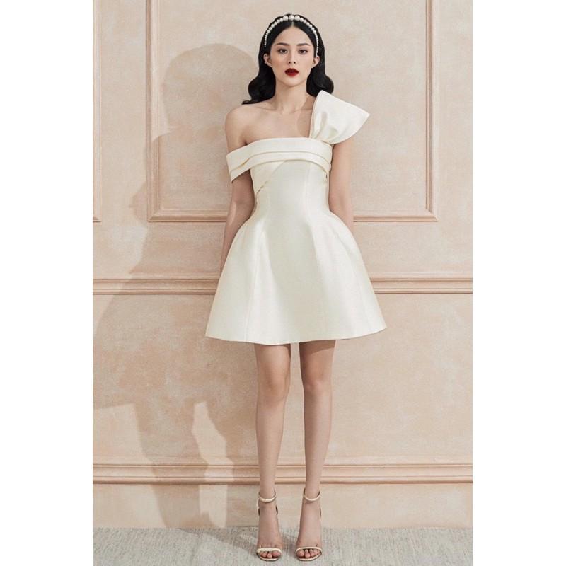 Mặc gì đẹp: Sang chảnh với Đầm dự tiệc đầm sang trọng đầm dáng xoè Taffta nơ ngực chéo vai đi chơi dạo phố công sở - MN95 - Đầm Váy Mina