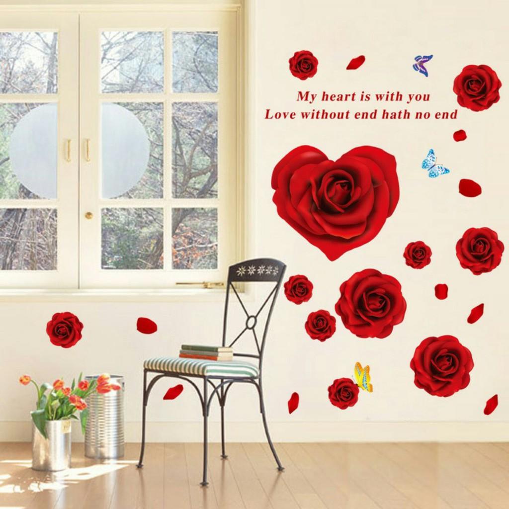 Decal dán tường hoa hồng đỏ trái tim - 3038410 , 409628931 , 322_409628931 , 40000 , Decal-dan-tuong-hoa-hong-do-trai-tim-322_409628931 , shopee.vn , Decal dán tường hoa hồng đỏ trái tim