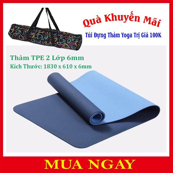 Thảm Yoga TPE 2 Lớp 6mm Ca