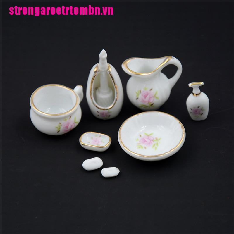 【Omvn】8Pcs 1/12 Miniature Dollhouse Bathroom Accessories Set Floral Ceramic Mi