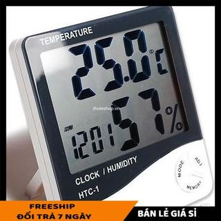Máy đo độ ẩm SALE ️ Máy Đo Nhiệt Độ Độ Ẩm Không Khí Trong Phòng và tích hợp đồng hồ giờ điện tử 3361