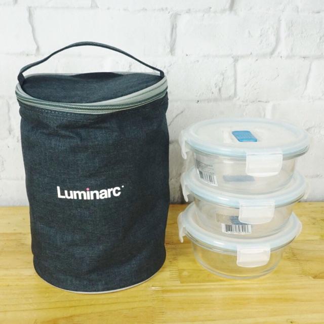 Bộ 3 hộp thủy tinh chịu nhiệt  LUMINARC 420ml kèm túi giữ nhiệt