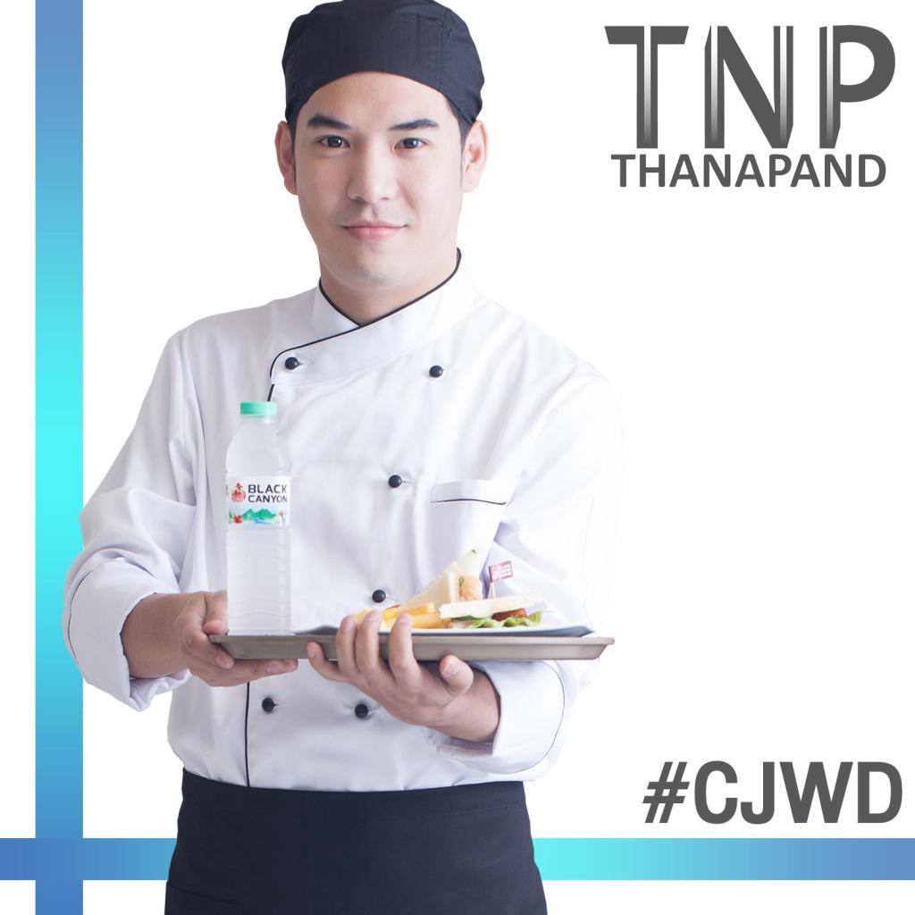 ชุดเชฟ ชุดพ่อครัว เสื้อเชฟมืออาชีพ สีขาว แขนยาว กระดุมเซฟตี้สองแถว เนื้อผ้า RayonPro™ รหัส #CJWD ชุดกุ๊ก เสื้อกุ๊ก TNP T
