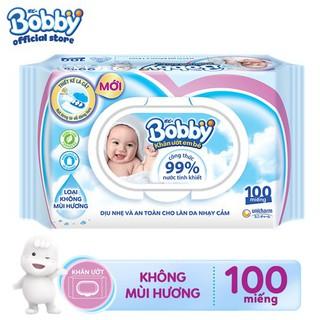 Khăn ướt Bobby không mùi 100 miếng (Xanh)