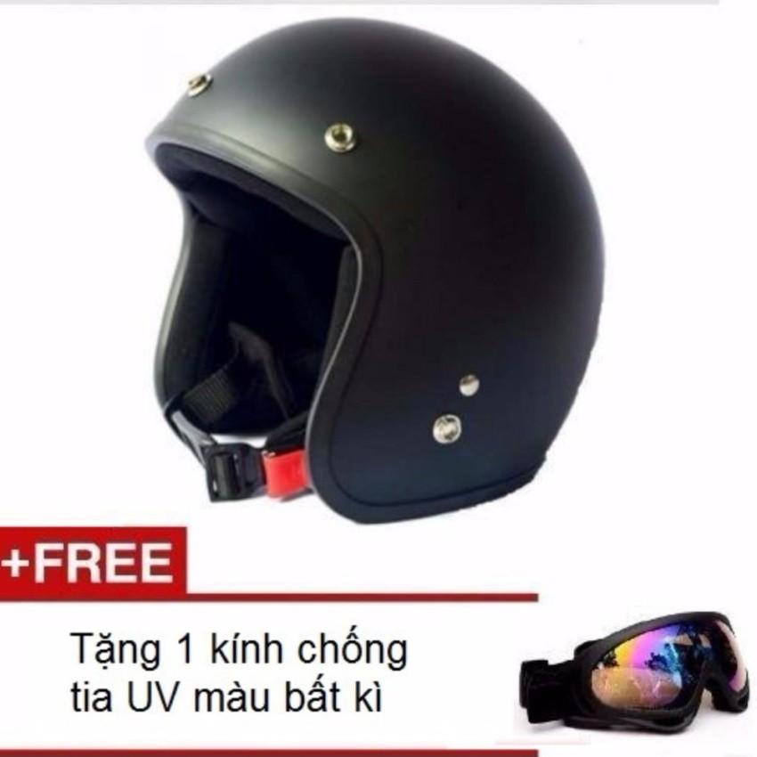 Mũ bảo hiểm 3/4 đầu dành cho phượt thủ + Tặng 1 kính chống tia UVmàu bất kì