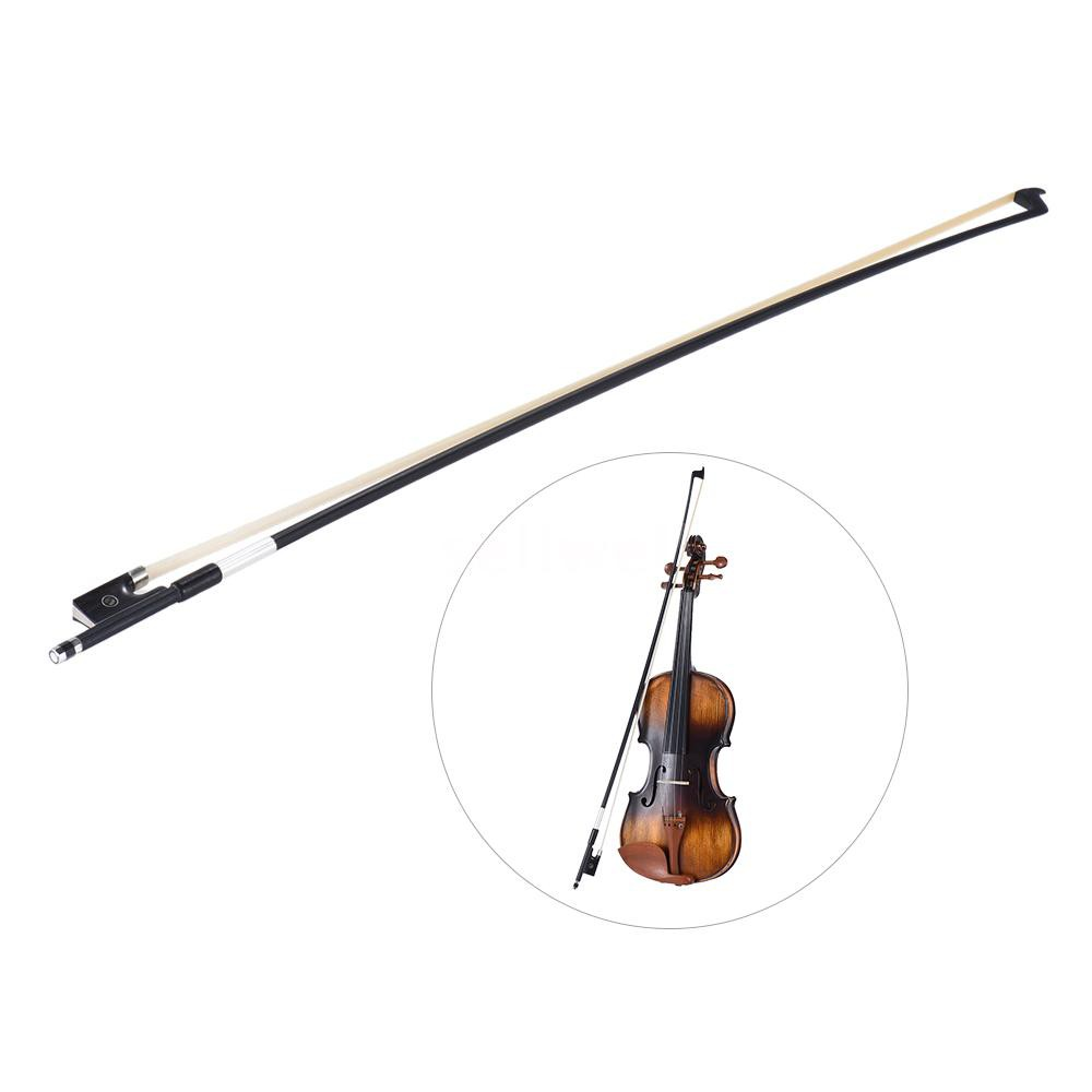Well Balanced Carbon Fiber 3/4 Violin Fiddle Bow Round Stick Exquisite Horsehair Ebony Frog