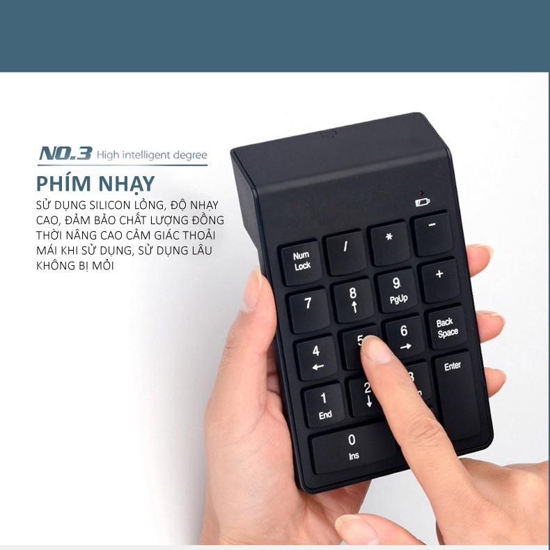 Bàn phím mini bàn phím số không dây 18 phím cơ bản dùng cho laptop máy tính bàn bảo hành 1 năm G3 bàn phím số