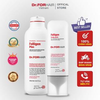 Bộ gội xả dưỡng tóc giúp GIẢM RỤNG TÓC, chăm sóc tóc chắc khỏe từ bên trong của Dr.FORHAIR Folligen Plus x Scalp Pack