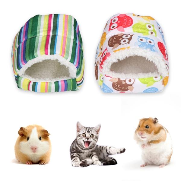 Mini Hamster Warm Pad Sleeping Bed Nest Plush Soft Rabbit Guinea Pig House Small Animal Cage Winter