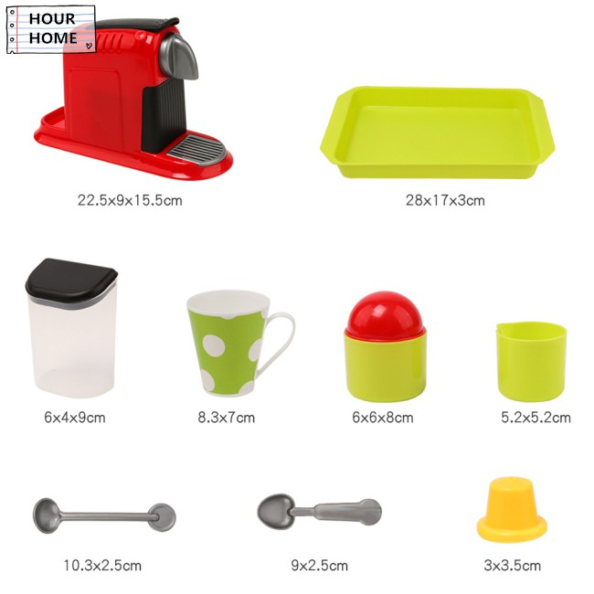 [Hourhome] Coffee Stir Mini Machine Set Kitchen Toy for Kids and Girls Simulation Small Appliances
