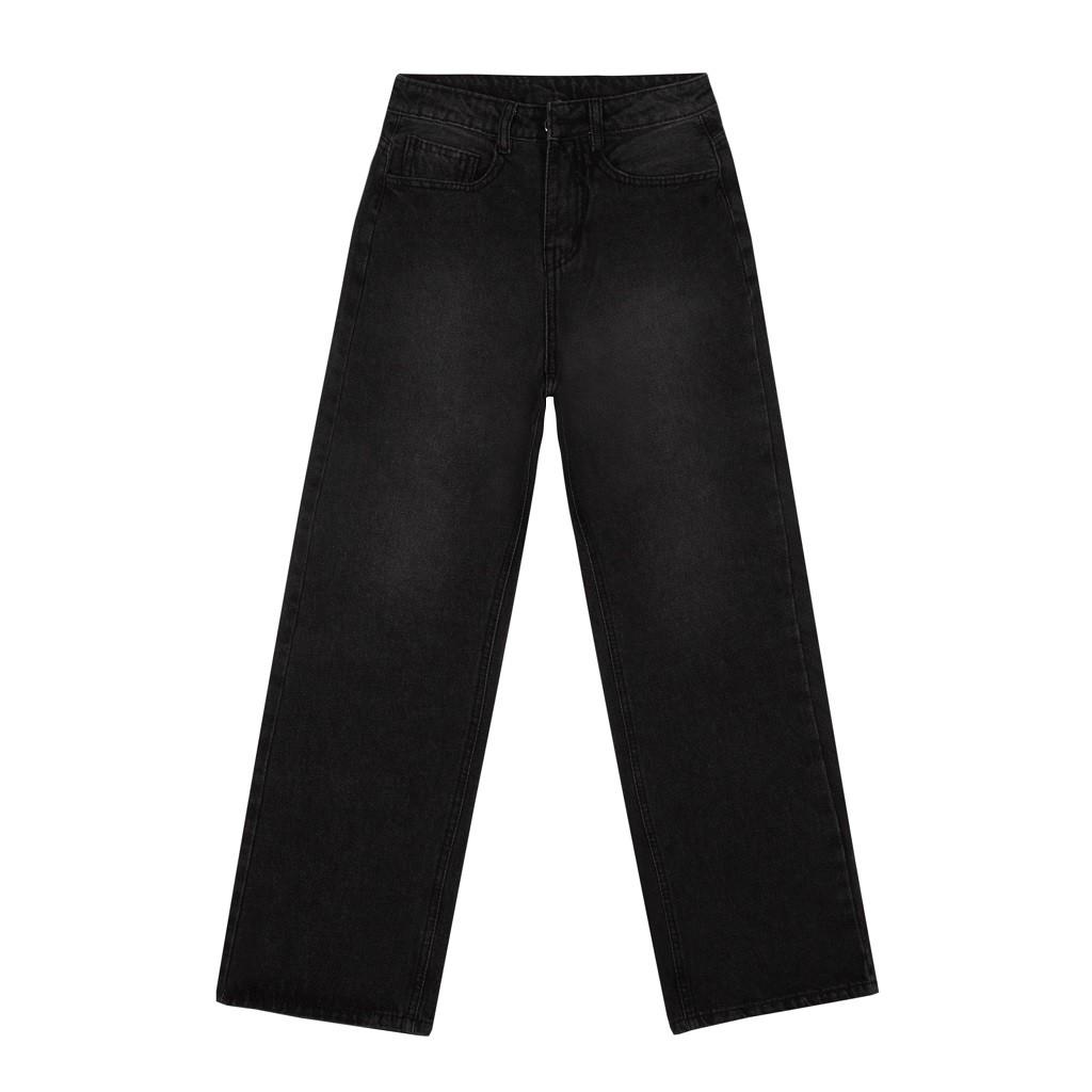Quần jean ống rộng nữ lưng cao DKMV màu đen - Quần bò nữ cạp cao Skinny Jeans Black