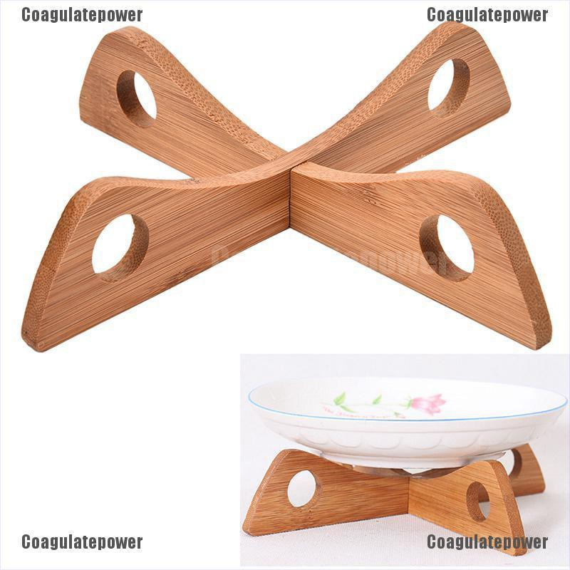 Coagulatepower 1 Set Dish Rack Tableware Tray Wooden Cross Combination Pot Rack Portable Tool