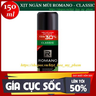 Romano – Xịt ngăn mùi hương nước hoa cao cấp Classic 195 ml – Hàng nhập khẩu