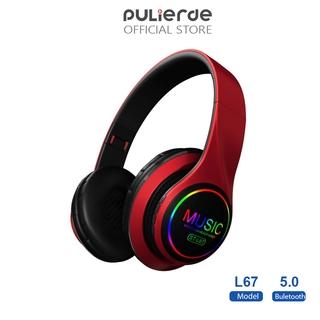 Tai Nghe Không Dây Pulierde L67 Bluetooth 5.0 Đọc Thẻ Tích Hợp Radio Có Đèn LED Nhiều Màu Giảm Tiếng Ồn Có Thể Gập Lại