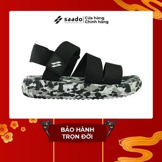 SANDAL SAADO | YZ07 – Yezi Black Soldier – Màu Đen Trắng Họa Tiết Camo Rằn Ri | Giày Sandal Nam Nữ Đế Xuồng