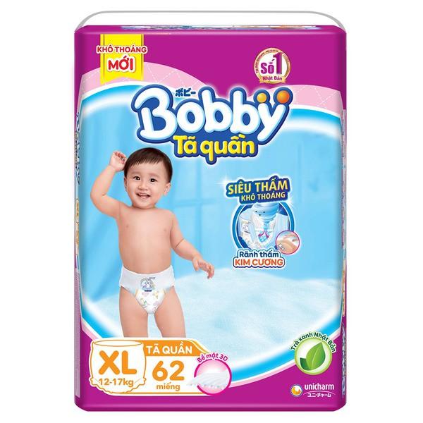 Tã quần Bobby M74/ L68/ XL62/ XXL56 mẫu mới ( rãnh thấm kim cương )